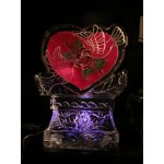 Heart with Doves Engrave Ice Sculpture or Luge