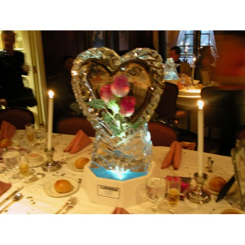Table centerpieces wedding ice sculpture and luges
