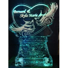 Heart w/ Doves Engrave Ice Sculpture